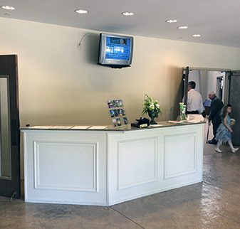 Church lobby and counter.